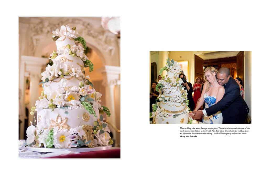 Baroque, off-kilter Ron Ben-Israel wedding cake at the Lotos Club