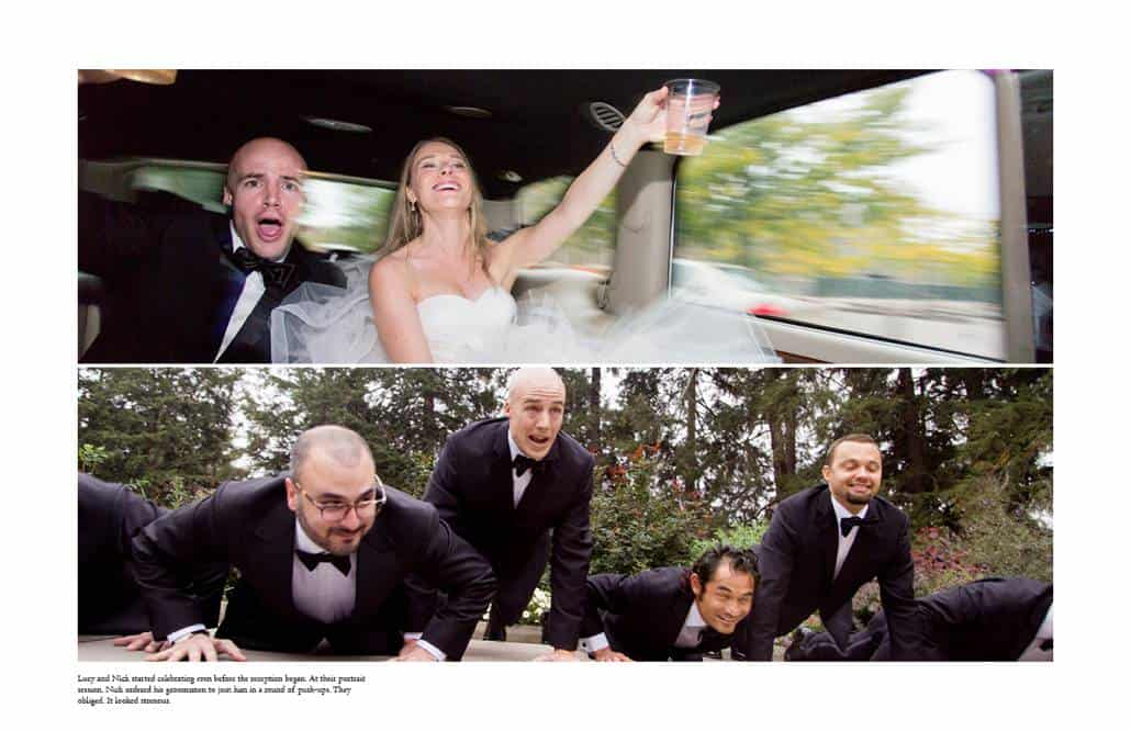 Bride and groom celebrate in A-1 Limo on their way to Cherry Valley Country Club, and groom poses for push-up portrait with groomsmen at Prospect Gardens