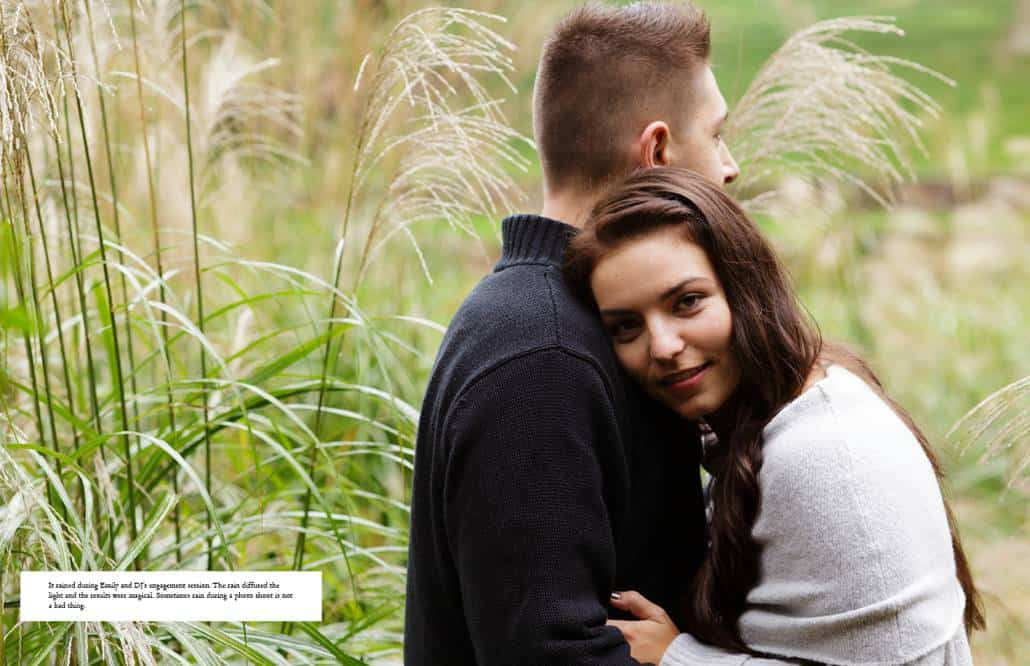 Jasna Polana engagment picture on a rainy day