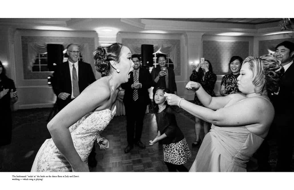 Photojournalist wedding photographer in New Jersey: bride and bridesmaid have a blast on the dance floor