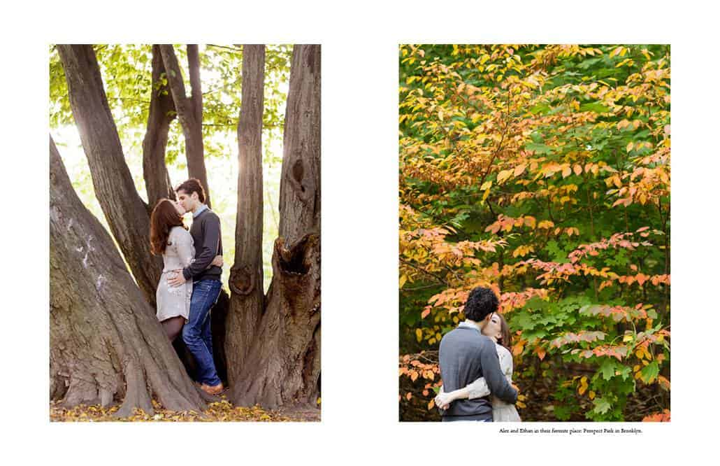 Prospect Park engagement photographer in Brooklyn: a couple kisses with autumn foliage behind them