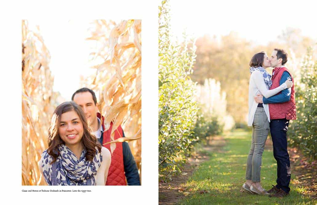 Engagement pictures at Terhune Orchards in Princeton, NJ: a couple walks through the cornfield and kisses in an alley of apple trees
