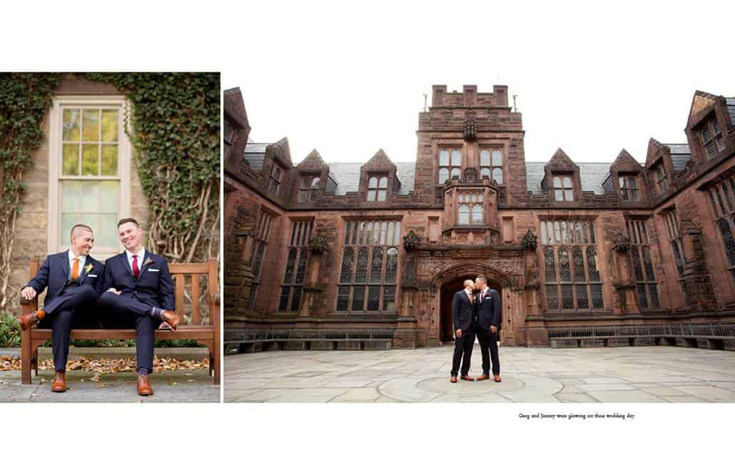 Same-sex wedding photographer in Princeton: a couple pose for wedding portraits on campus at Princeton University