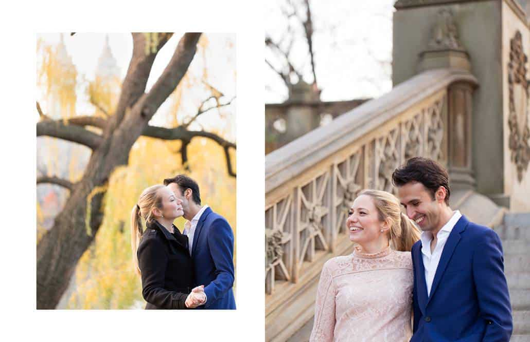 Central Park engagement ideas: posing under the weeping willows, descending the stone staircase at Bethesda Terrace