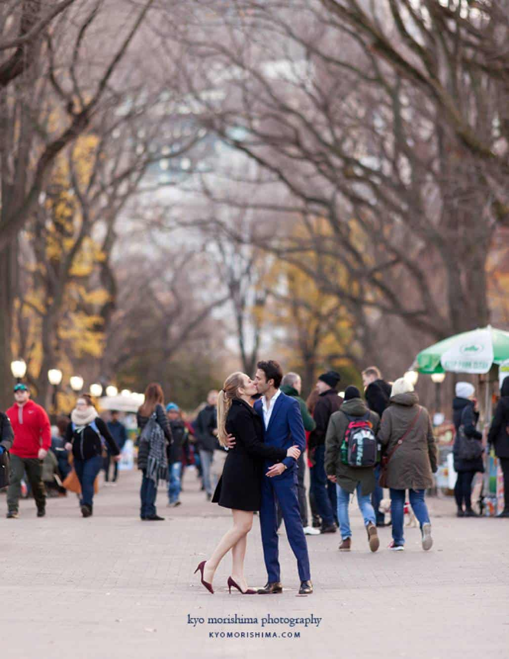 Central Park engagement photo on The Mall