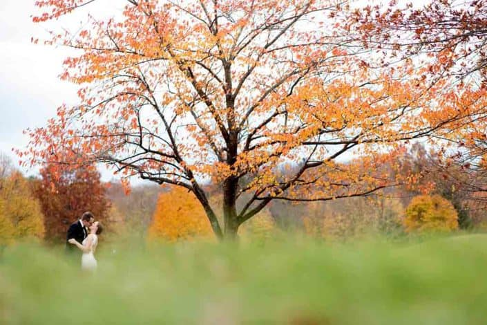 Fall wedding portrait at Jasna Polana, Princeton NJ