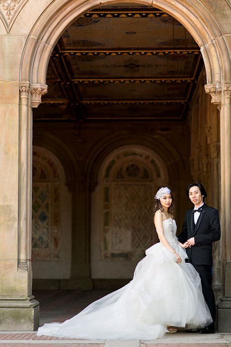 Destination wedding portrait at Bethesda Fountain, Central Park, NYC