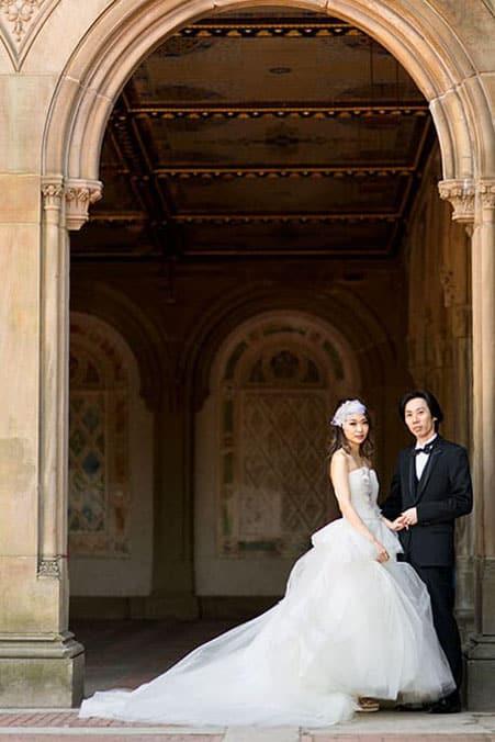 Destination wedding portrait at Bethesda Fountain, Central Park, NYC