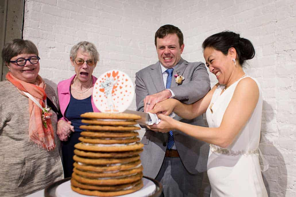 Wedding cookie cake cutting, at Invisible Dog Art Center, Brooklyn, NY