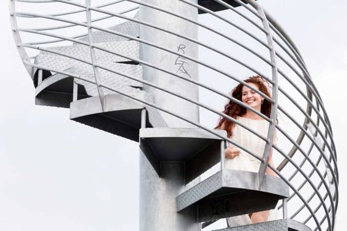 Bride climb up Land Buoy , Washington Avenue Pier , Philadelphia, PA