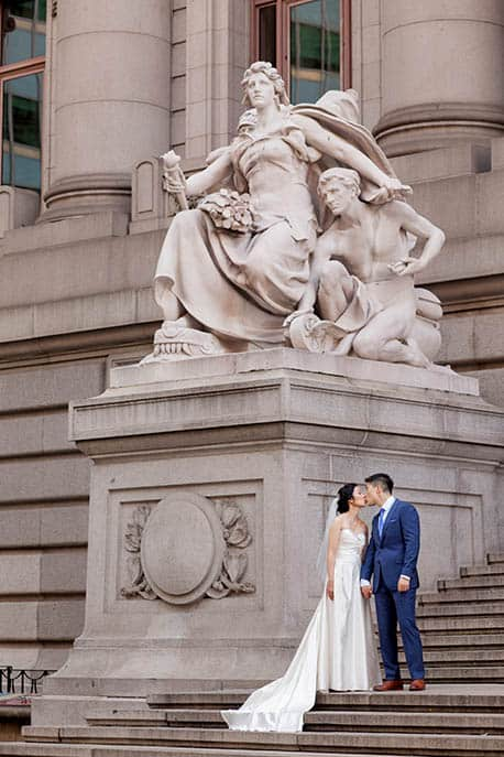 Wedding portrait at National Museum of the American Indian, NYC