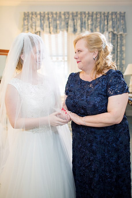 Bride and mother before a wedding ceremony at The Bernards Inn.