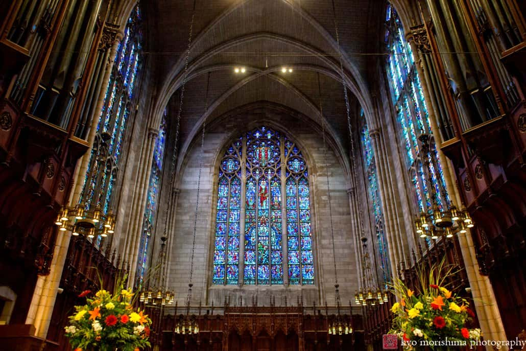 Princeton University Chapel wedding interior with fall flowers by Monday Morning Flowers