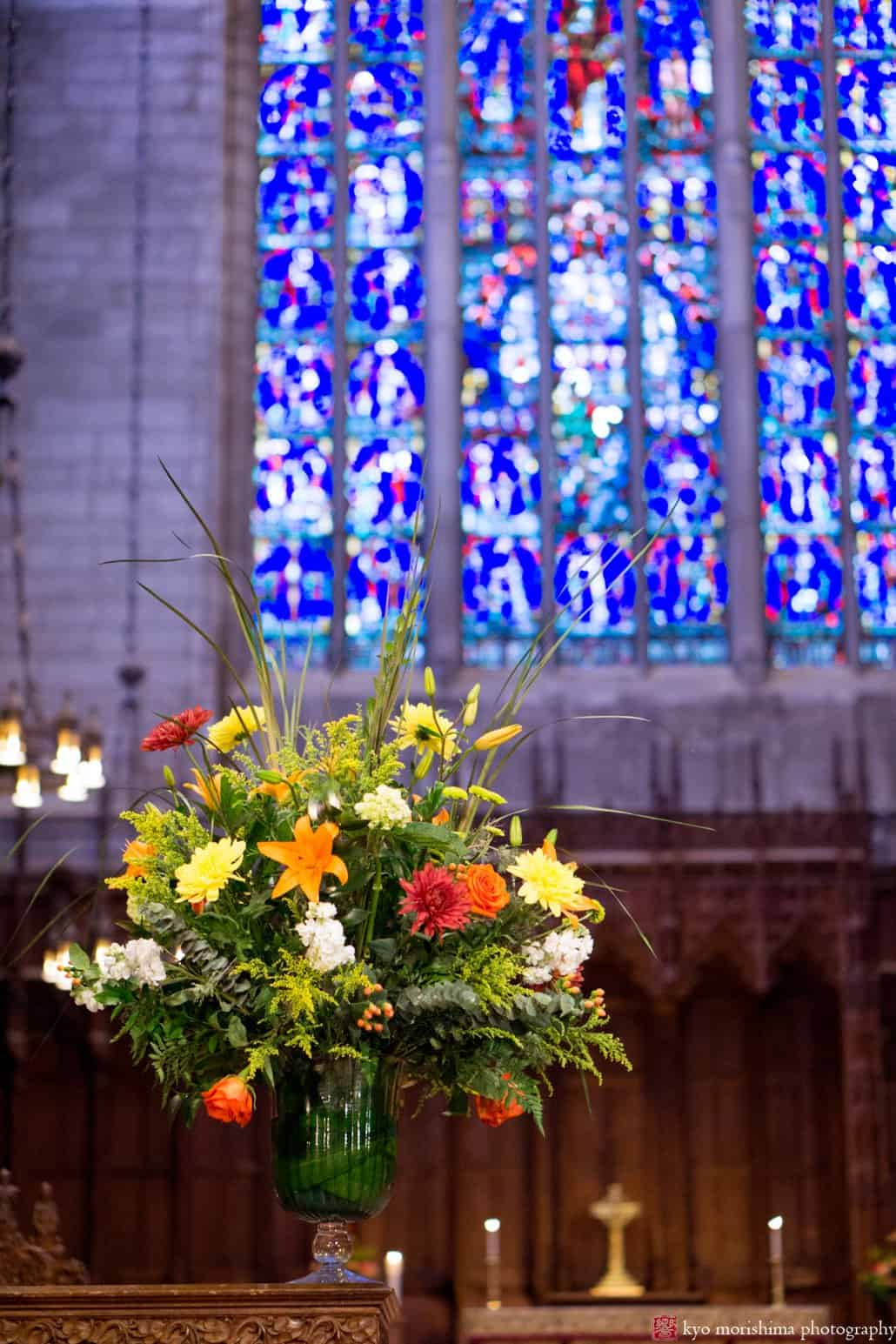 Colorful fall wedding flower bouquet by Monday Morning Flowers, photographed in Princeton University Chapel