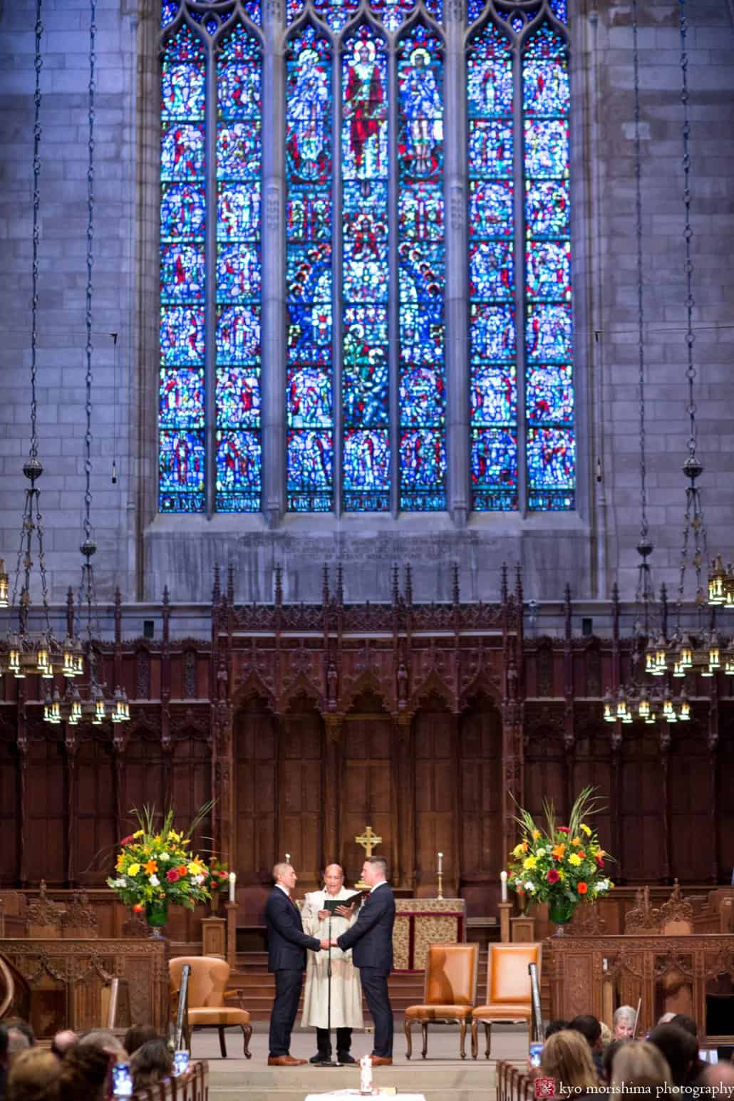 Princeton University Chapel same sex wedding with flowers by Monday Morning Flowers