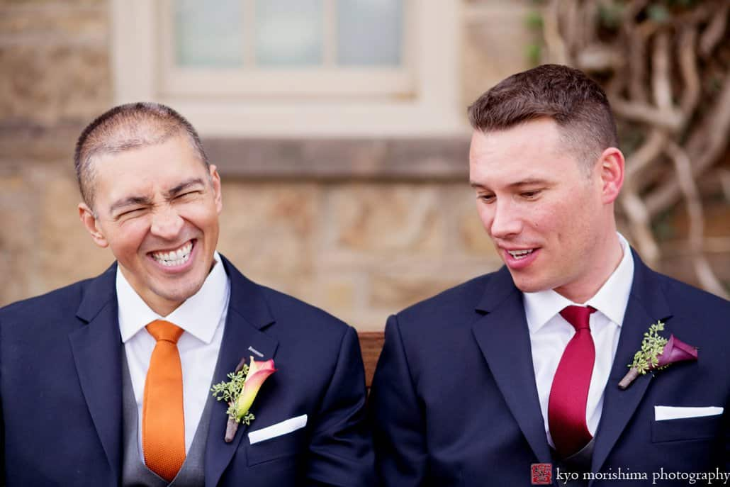 Laughing during Princeton wedding portrait session - orange and pink ties