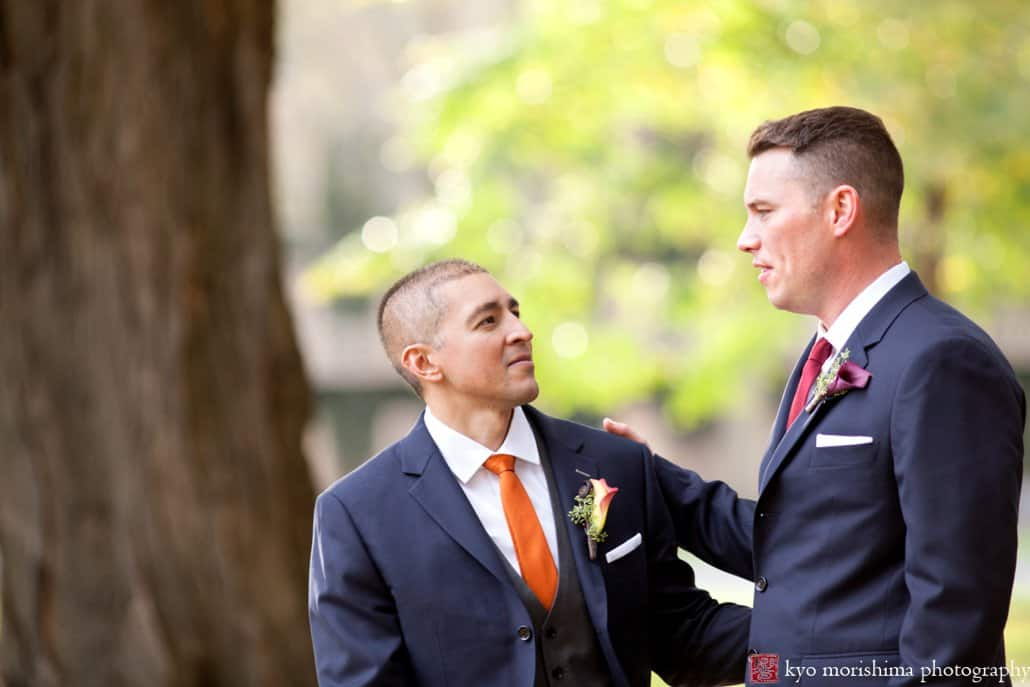 A tender moment during wedding portrait session on Princeton campus