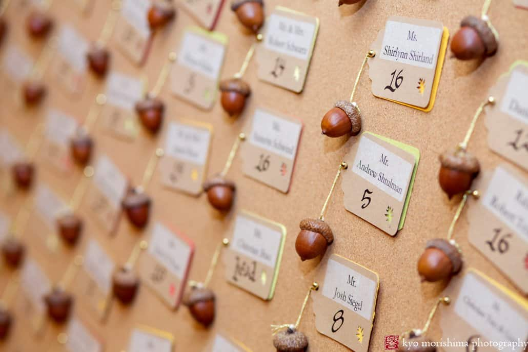 Acorn place cards at fall wedding in Princeton