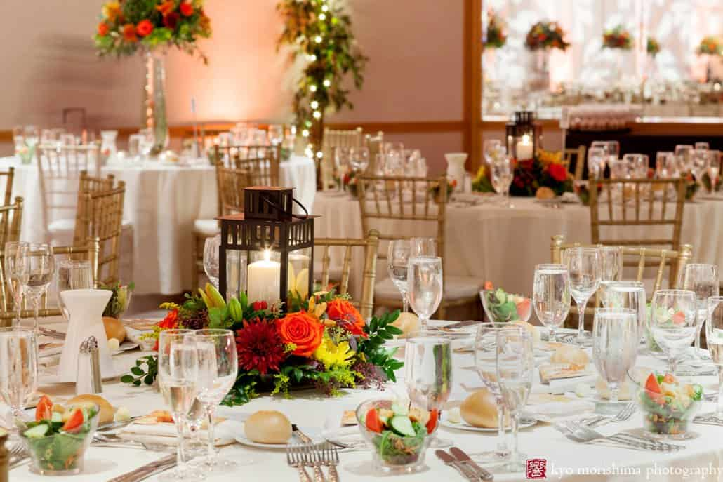 Monday Morning Flowers colorful fall centerpieces with lanterns at Hyatt Regency wedding