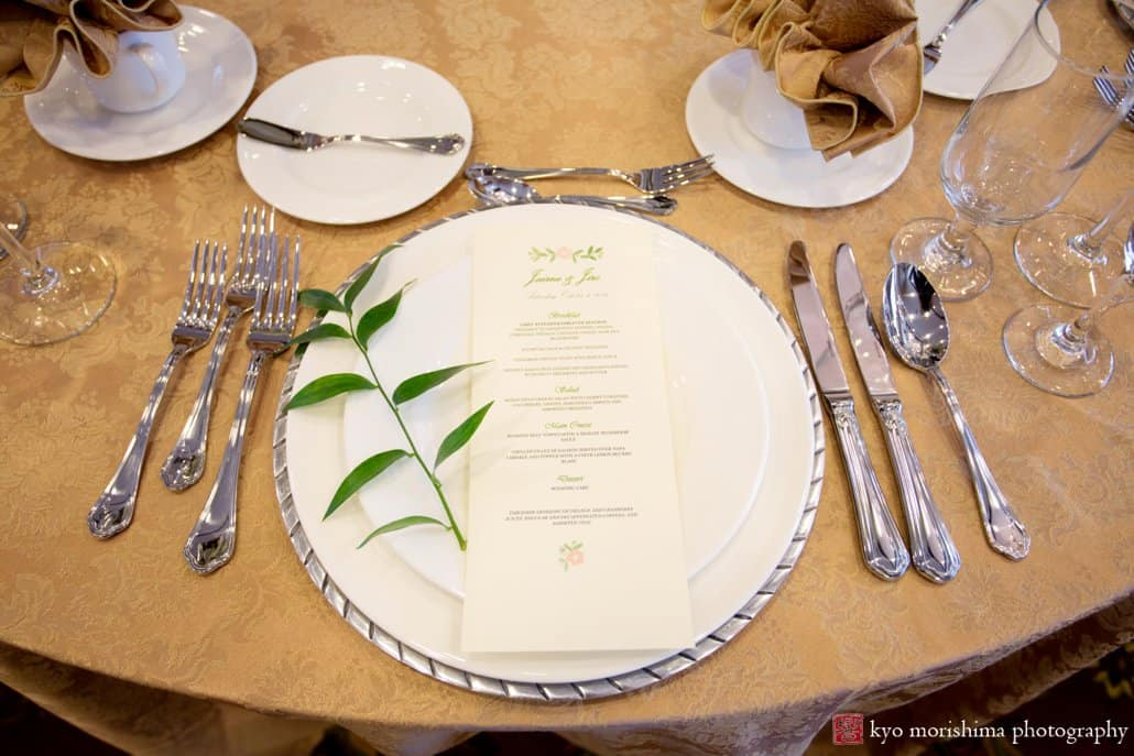 Italian ruscus tabletop wedding decor with gold accent tablecloth by Petal Pushers at the Nassau Inn in Princeton, NJ