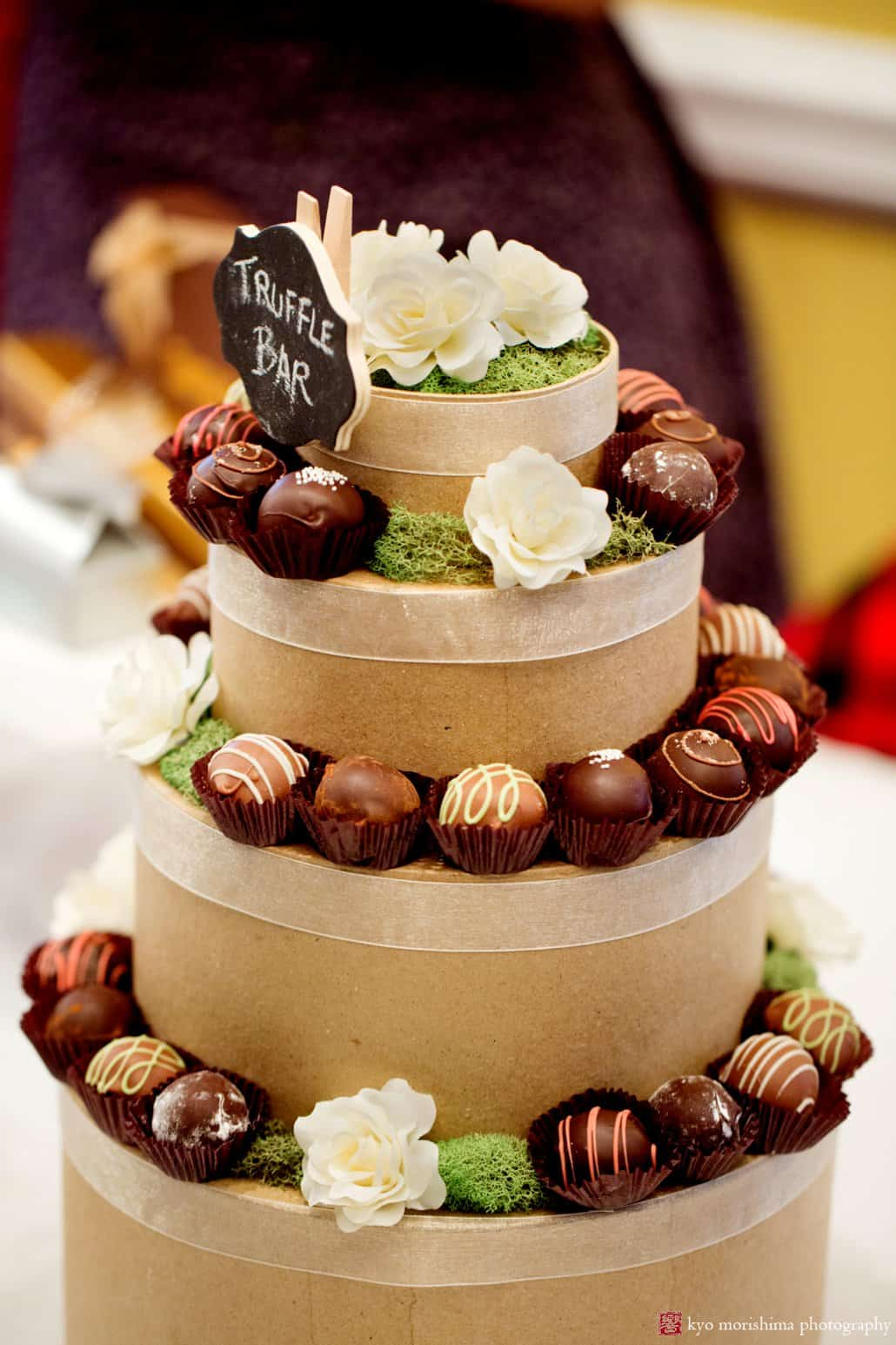 Unique and simple wedding ideas: Chocolate wedding decorations: a tiered chocolate truffle tabletop display by Thomas Sweet in Princeton