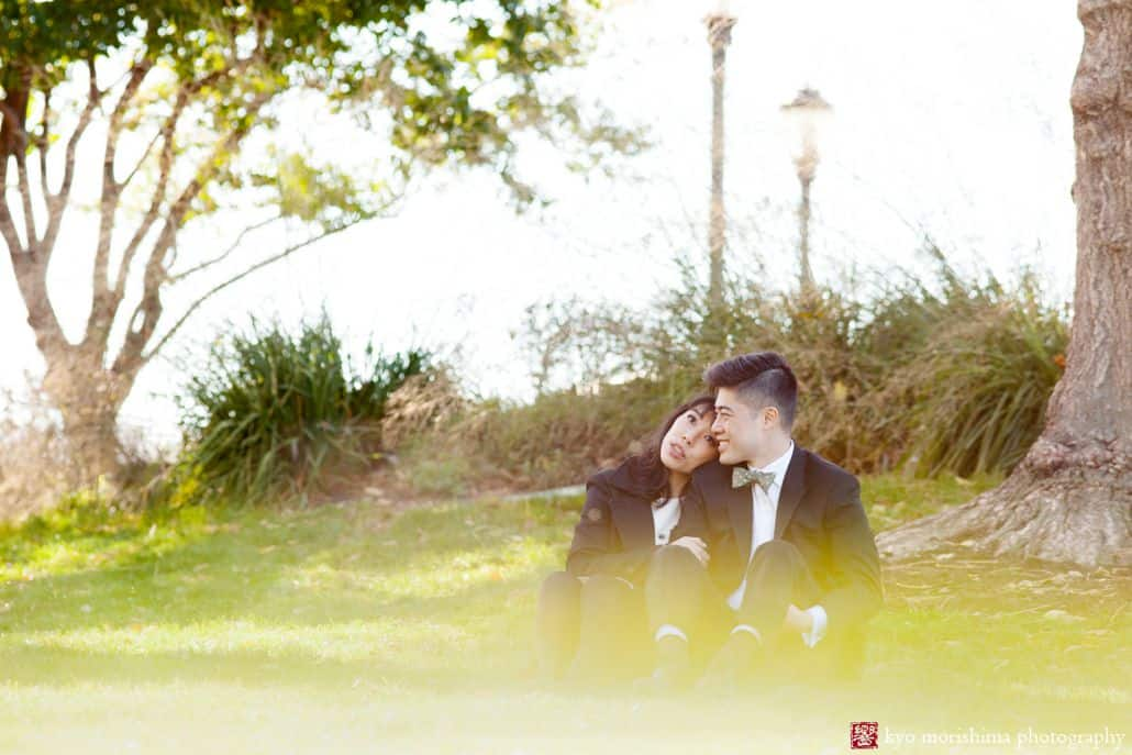 Wedding portrait in downtown NYC park of Chinese bride wearing Kate Spade dress and Japanese-Brazilian groom wearing bow tie