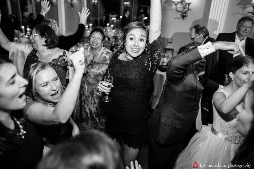 Joyous dancing to music by Franklin & Allison Orchestra: Bernards Inn wedding photos in documentary, black & white style by Kyo Morishima