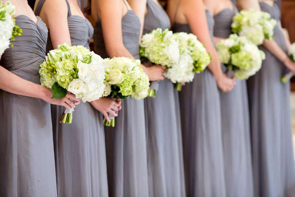 pale green hydrangea and white rose wedding party bouquets ...