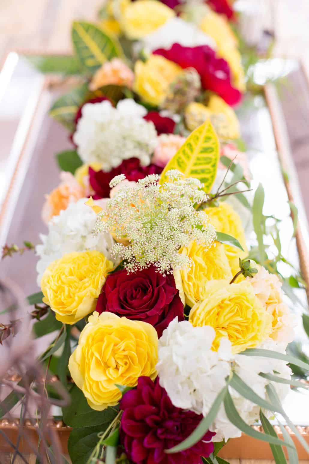 Yellow And Red Long Narrow Table Centerpiece Red Roses Red Dahlias