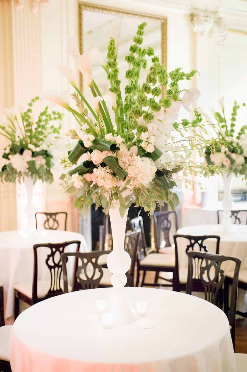 Tall Peach And Green Wedding Table Centerpieces With Roses, Bells Of  Ireland, Calla Lilies