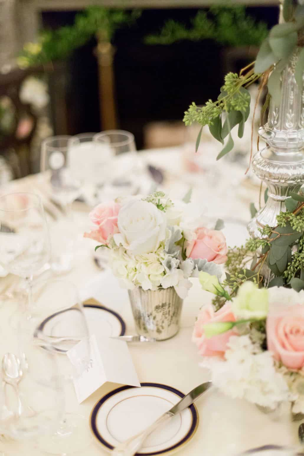 Pink And White Rose With Eucalyptus Wedding Table Floral