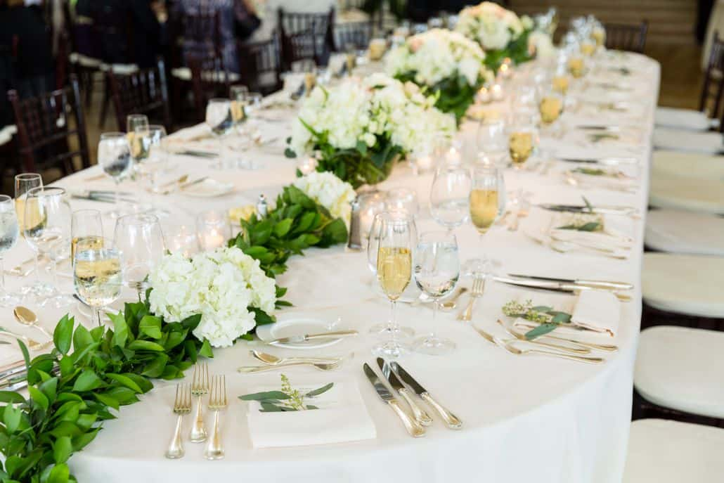 Hydrangea And Leaf Centerpiece Runner White Table Linens
