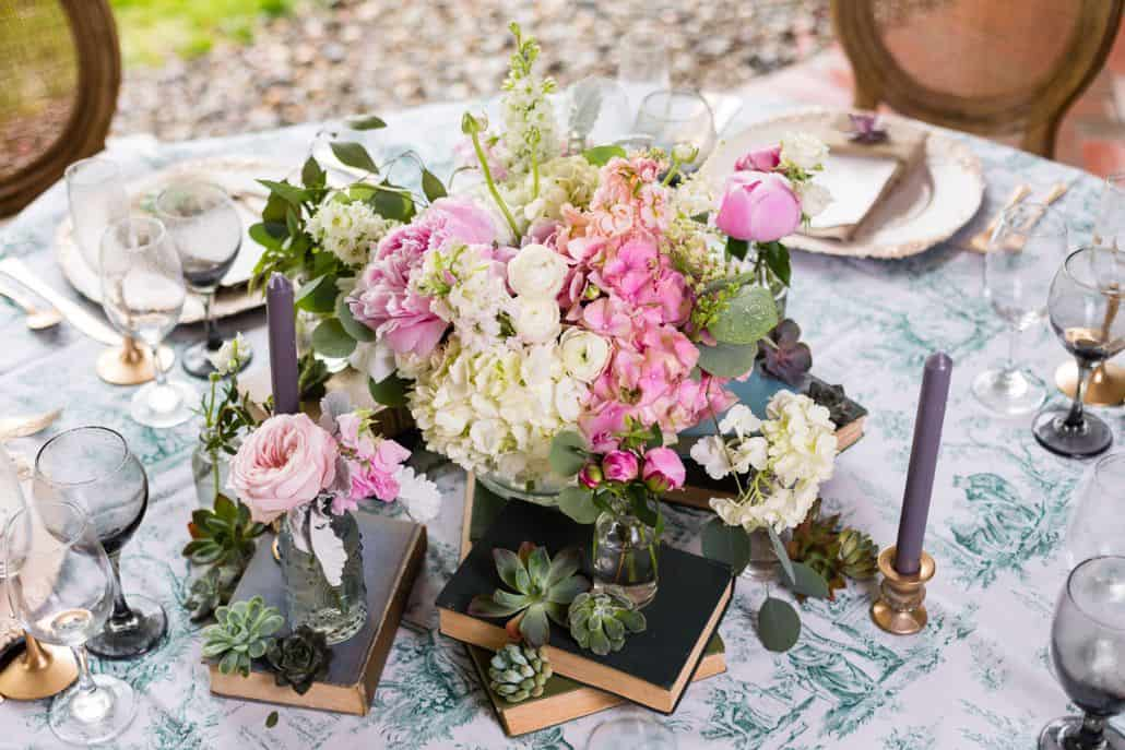 vintage inspired wedding table centerpiece. Hydrangea and pink peony ...