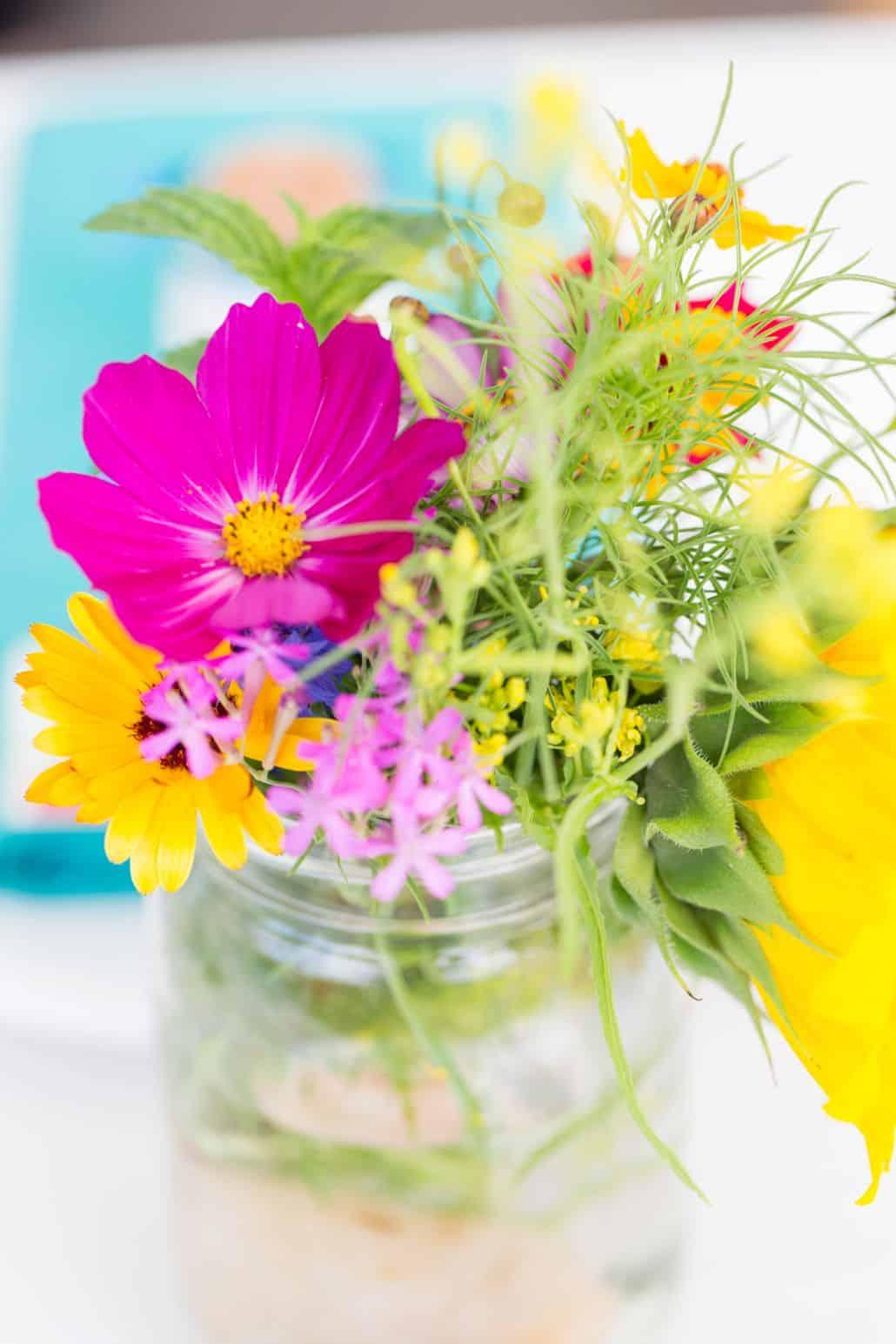 Fuscia Yellow And Green Wildflowers In Mason Jar Kyo Morishima