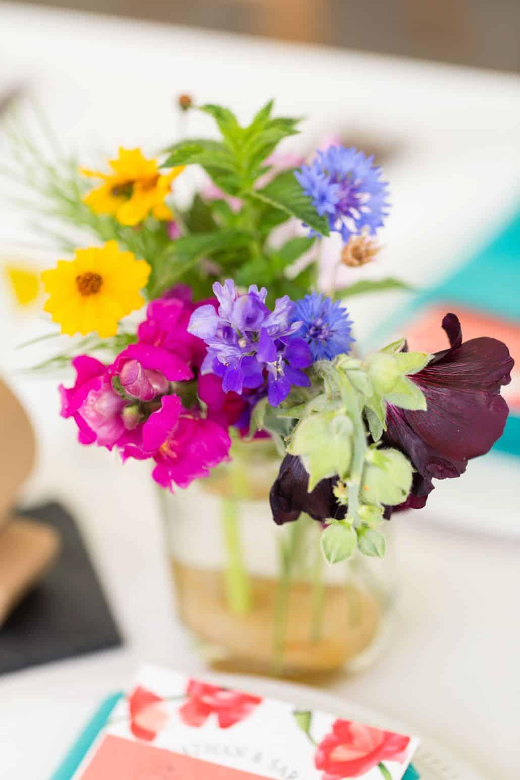 Jewel Tone Wildflowers With Mint In Mason Jar Wedding Table