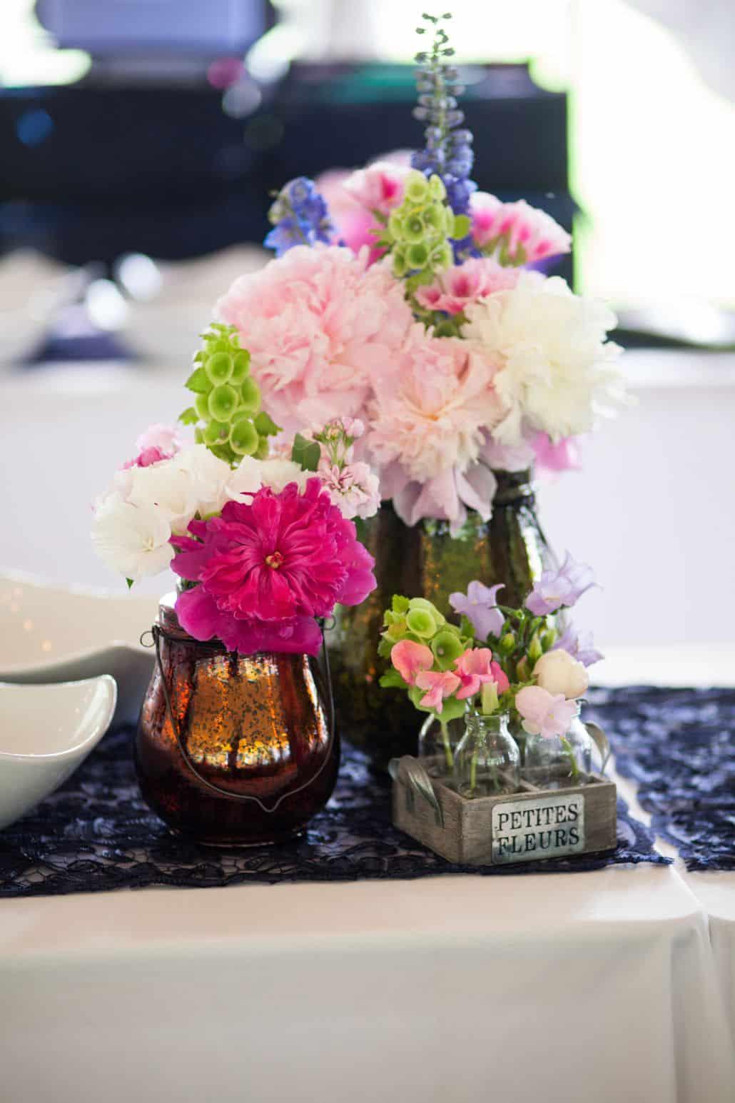 Wedding table centerpiece floral arrangement tiny bud vases wedding table centerpiece floral arrangement tiny bud vases peonies bells of ireland reviewsmspy