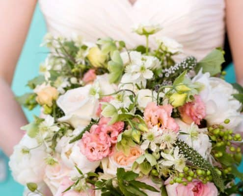 Large Mixed Flower Wedding Bouquet Pale Pinks White And Green Accents Peonies Roses Ruched Spaghetti Strap Dress