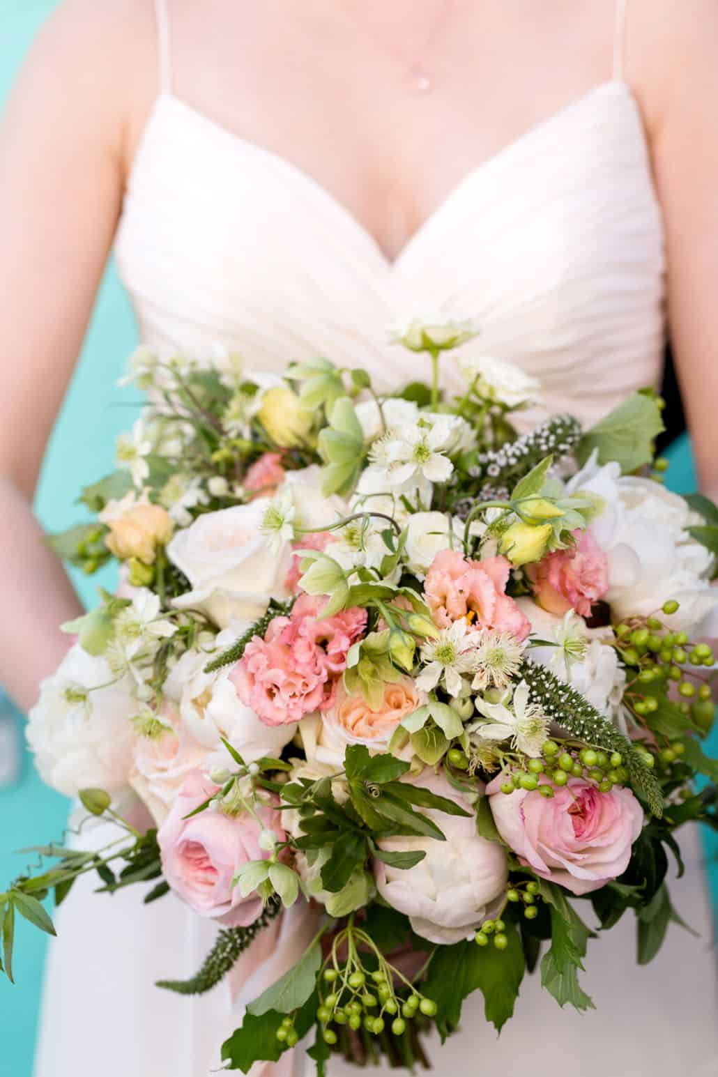 large, mixed flower wedding bouquet, pale pinks,white and green ...