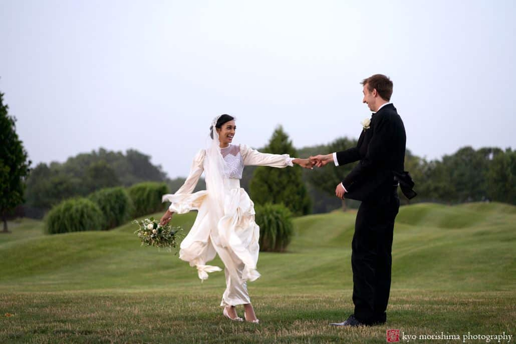 Dancing golf course wedding portrait at Mercer Oaks Country Club in West Windsor, NJ