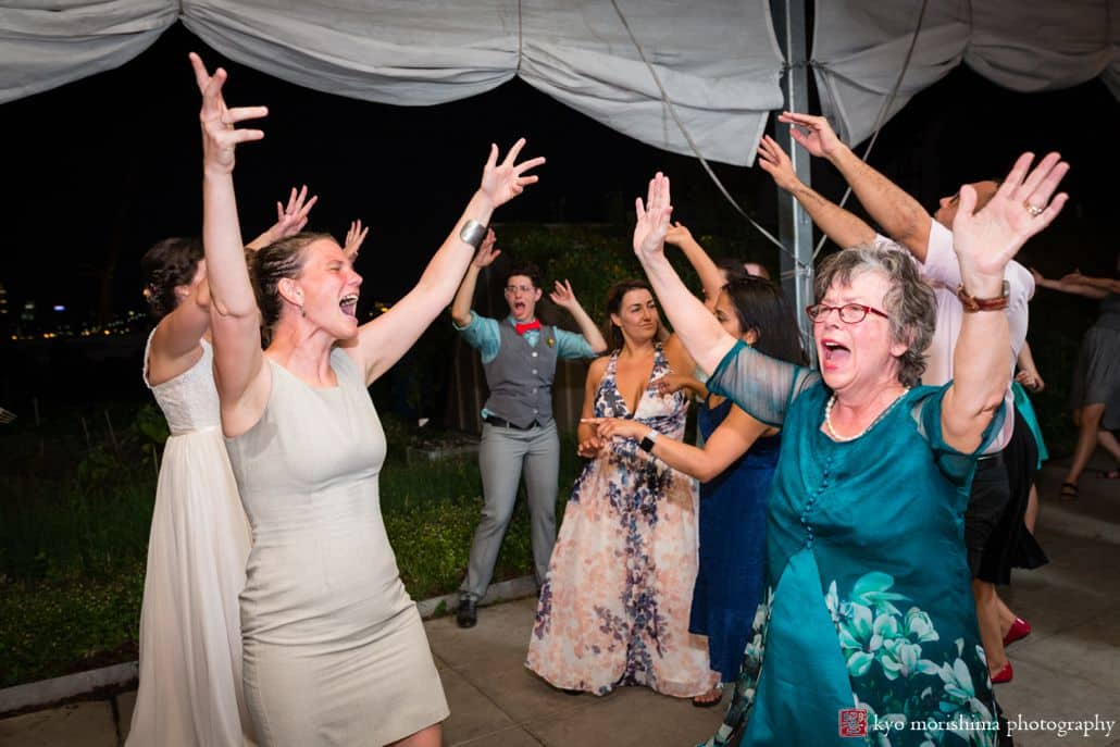 Guests dance to 74 Events DJ at Brooklyn Grange wedding