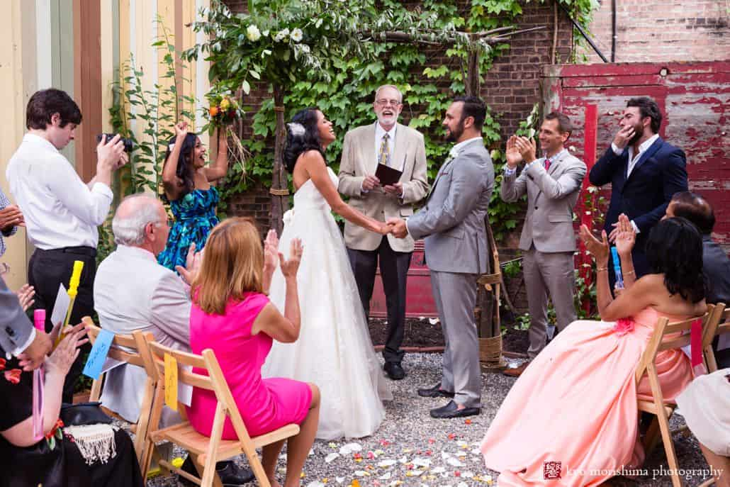 Small wedding venue in Brooklyn: the back garden at Electric Anvil Tattoo in Crown Heights