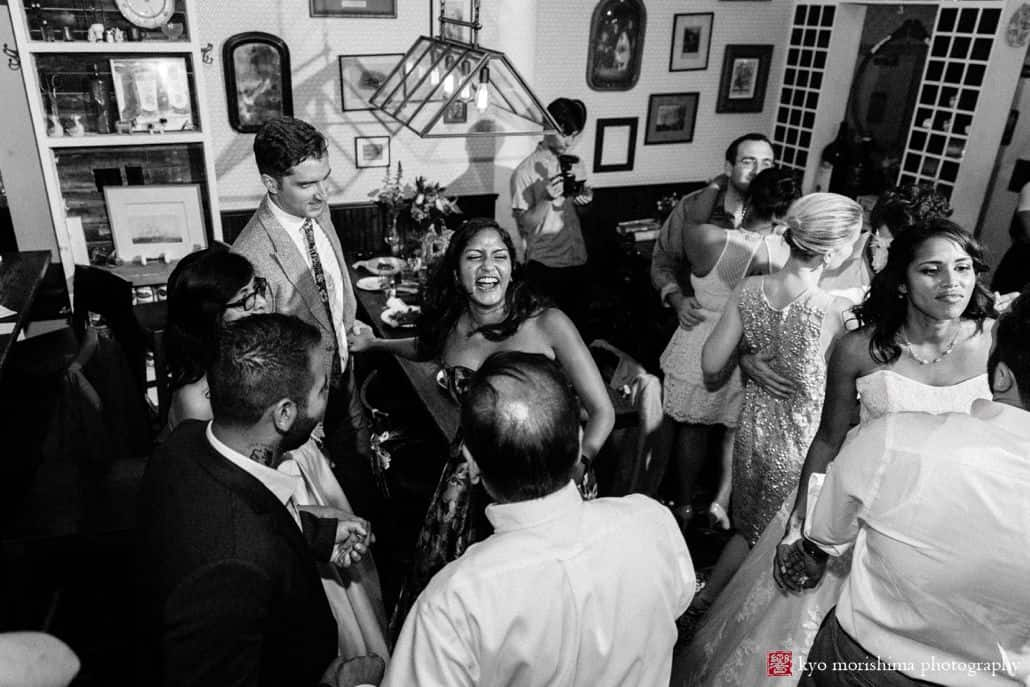 Guests partying at small wedding venue in Brooklyn, Aita Trattoria on Franklin Street