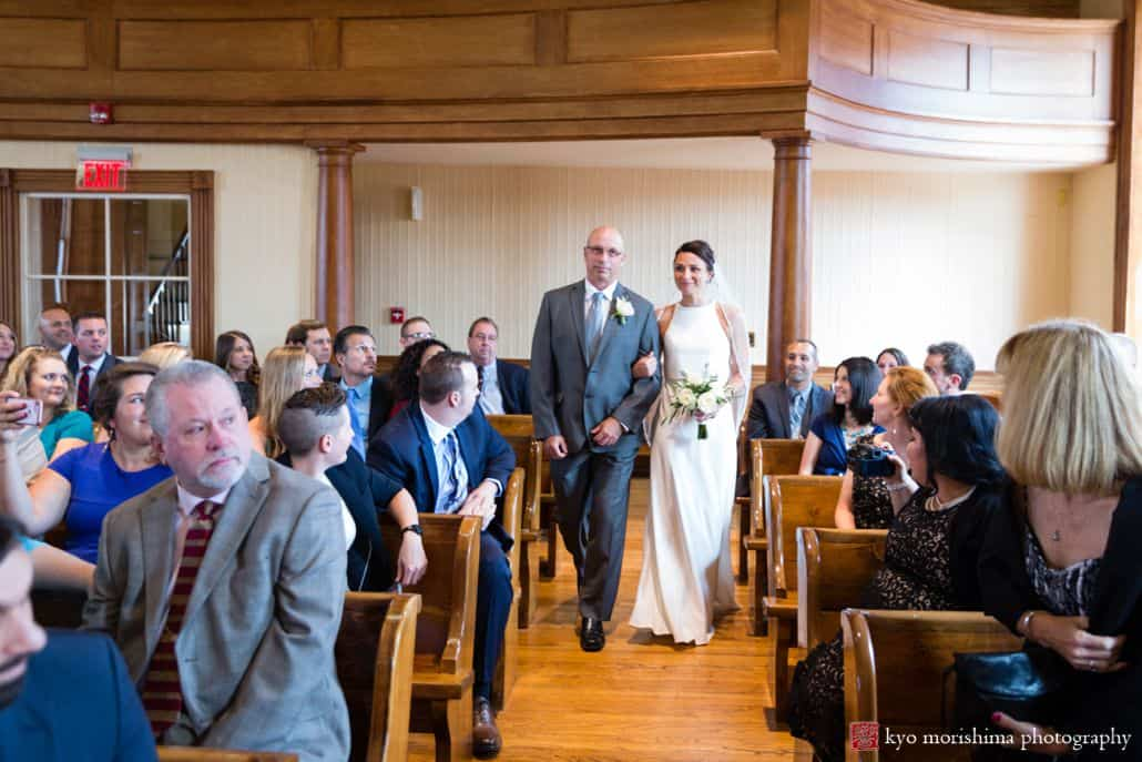 Bride walks down aisle with father at Hunterdon County courthouse intimate wedding, BHLDN wedding dress, The Pod Shop flowers, New Hope, PA wedding photographer.