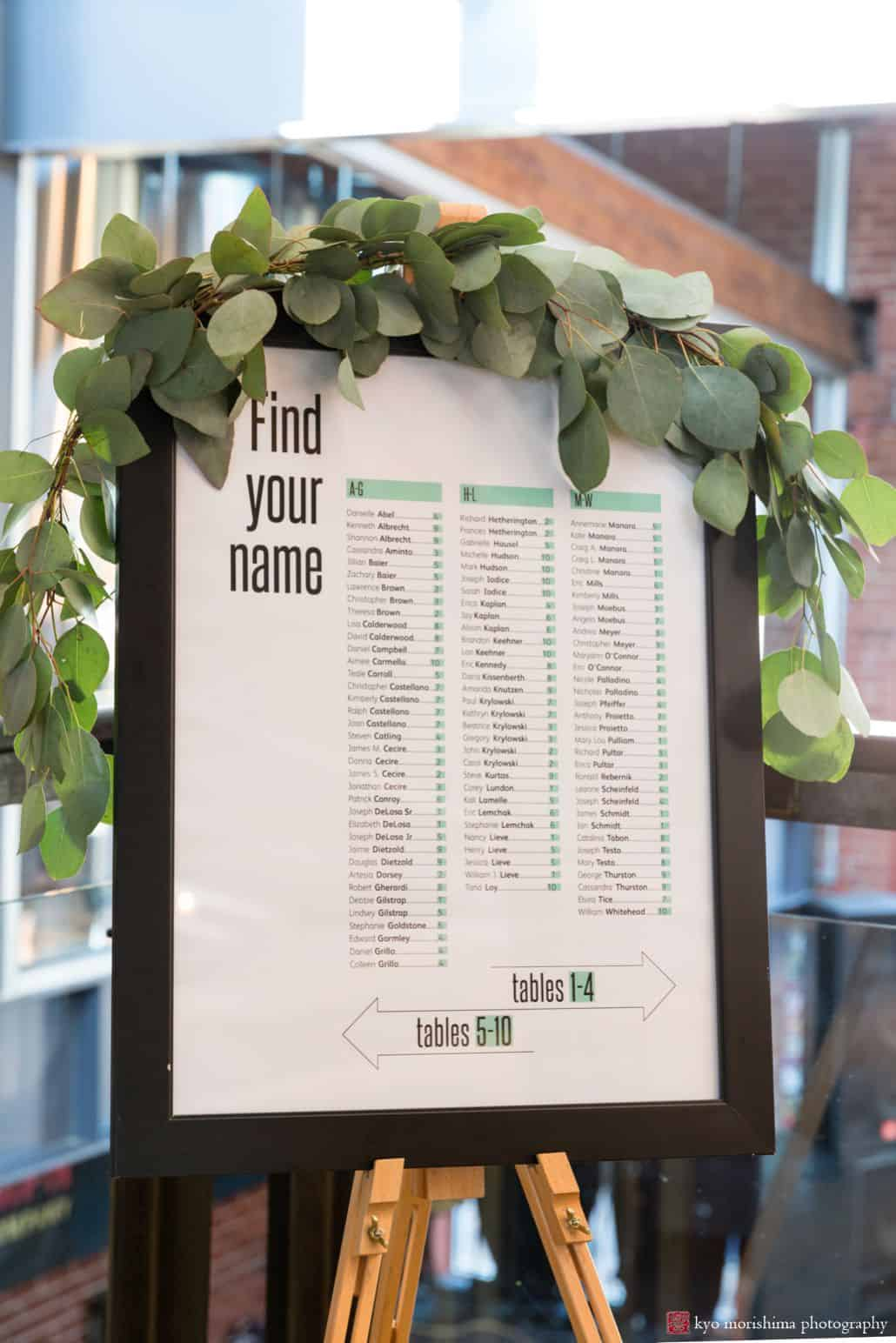 Wedding seating chart in black frame surrounded by leaves at Triumph Brewery, New Hope PA, Summer intimate wedding details photographer