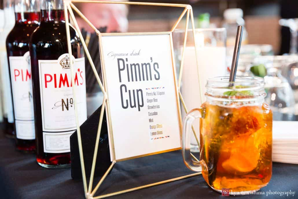 Signature wedding drink sign at Triumph Brewing, New Hope, PA, Pimm's Cup, mason jar glass, intimate wedding detail photographer, triumph brewery wedding photos.