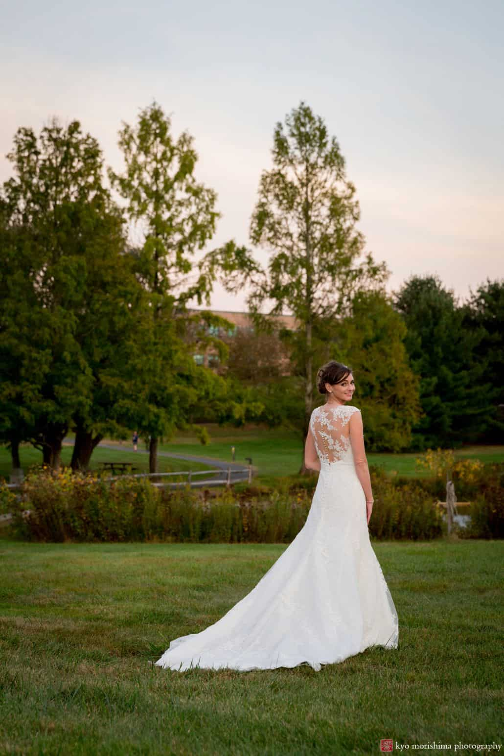 Sunset wedding ideas: bridal portrait with gentle dusk colors in the sky, photographed at Chaucey Hotel and Laurie House Garden Pavilion wedding, Princeton, NJ