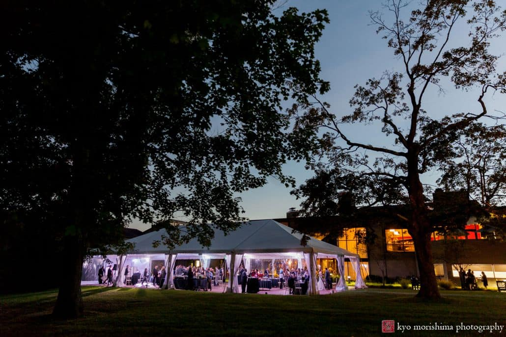 Outdoor tented wedding reception in Princeton NJ: the Chauncey Hotel and Laurie House Garden Pavilion