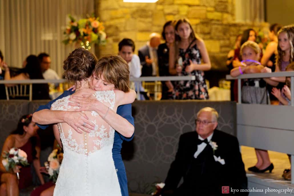 Bride and mom hug for an emotional moment at Chauncey Hotel wedding in Princeton, NJ