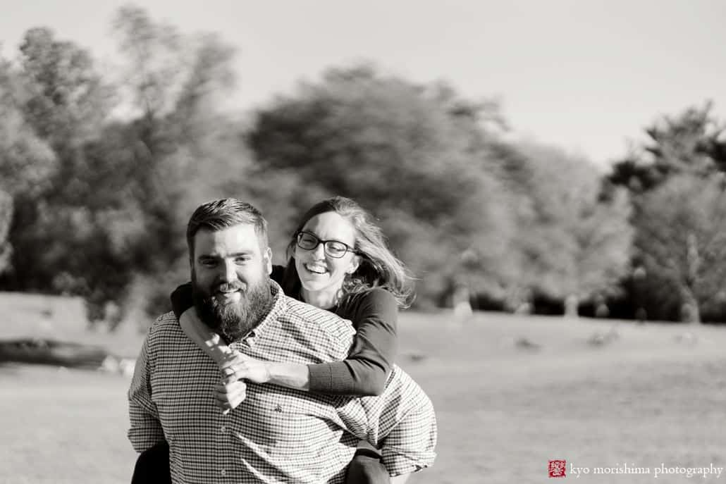 Prospect Park engagement pictures in black and white
