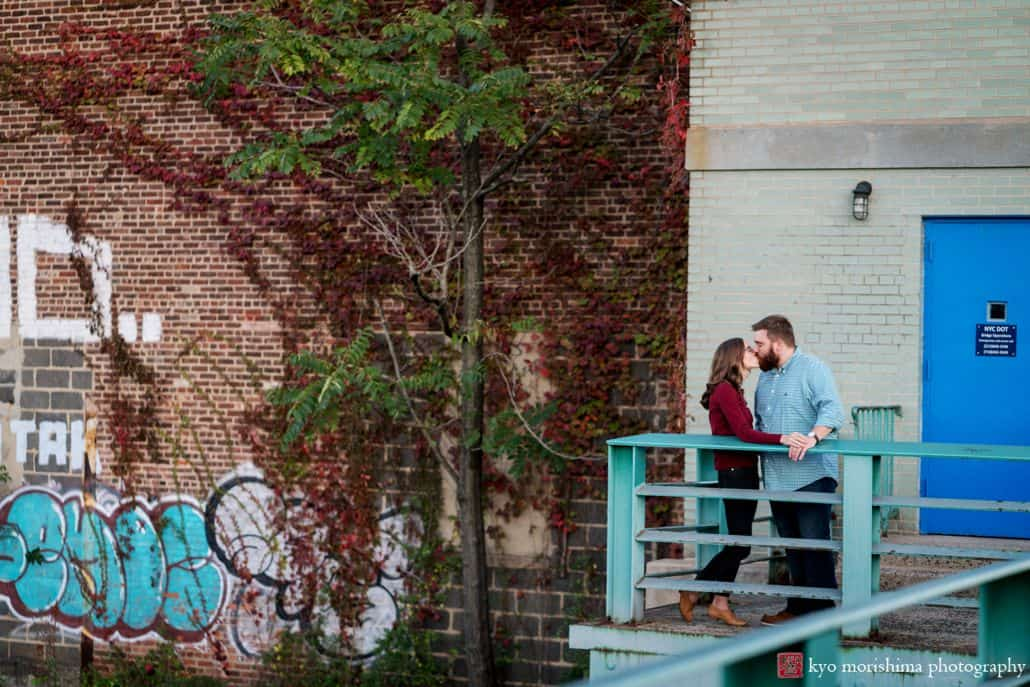 Brooklyn graffiti engagement picture by Gowanus Canal